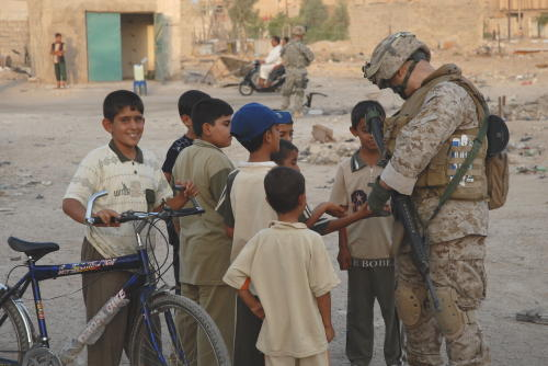 Marine and kids in Ramadi